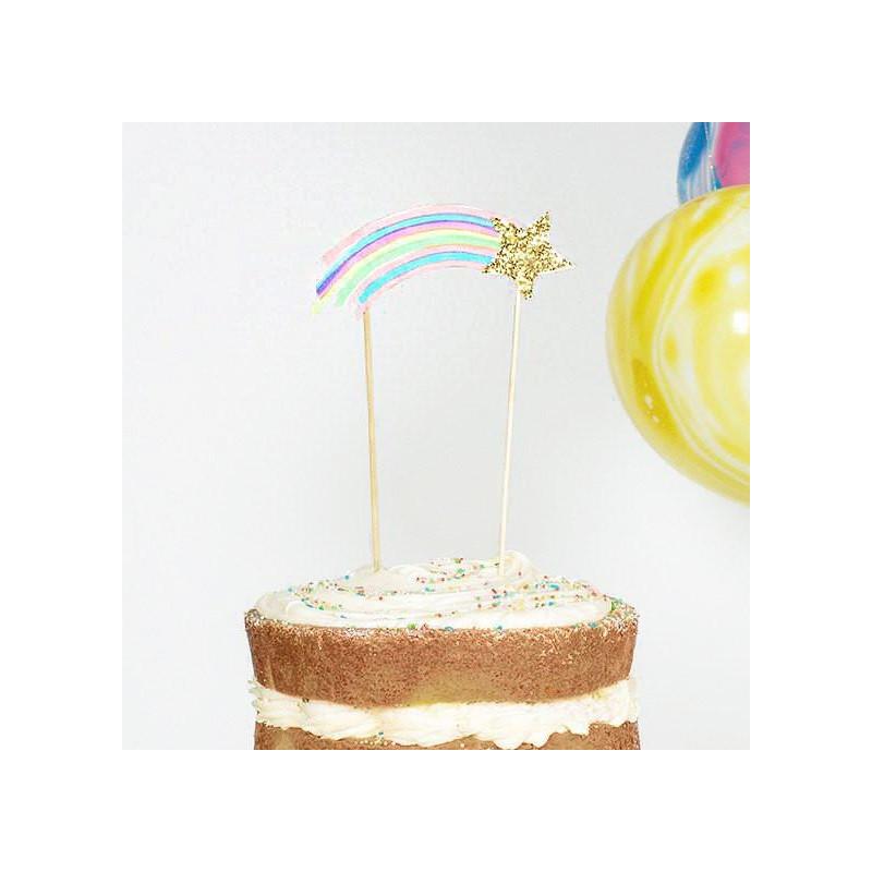 Decoración Pastel Arco Iris Babyshower