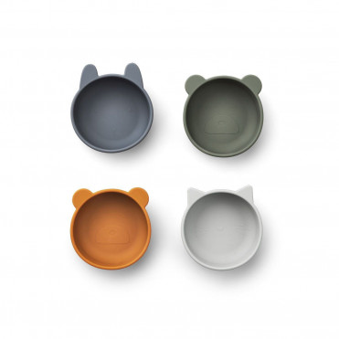 SILICONE BOWLS 4 PACK BLUE MIX