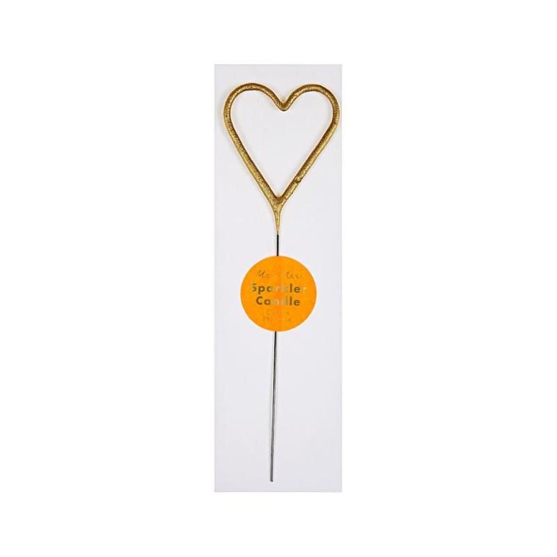 GOLD SPARKLER HEART CANDLE