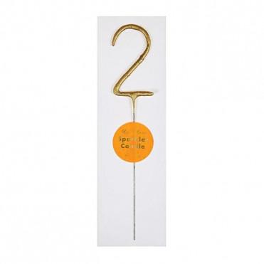 GOLD SPARKLER NUMBER 2 CANDLE