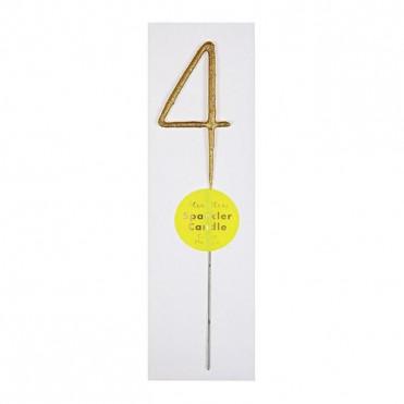 GOLD SPARKLER NUMBER 4 CANDLE