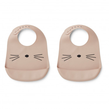 PACK 2 BAVOIRS EN SILICONE LIEWOOD CAT ROSE