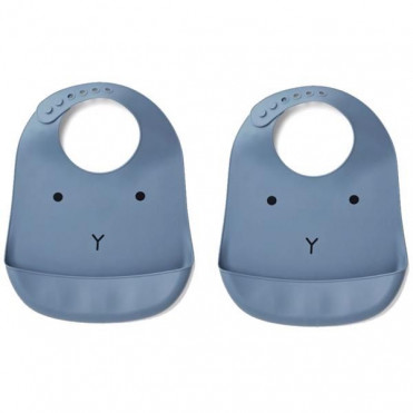 PACK 2 BAVOIRS EN SILICONE LIEWOOD RABBIT BLUE