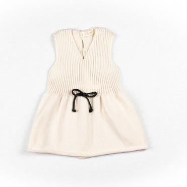 TRICOT CREAM BOW DRESS