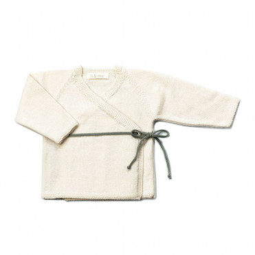 DOUBLE-BRESTED BABY JERSEY TRICOT STONE