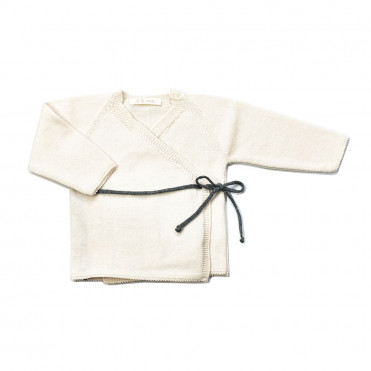 DOUBLE-BRESTED BABY JERSEY TRICOT SAGE